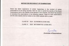 CBSE Circular for Reconduct of examination